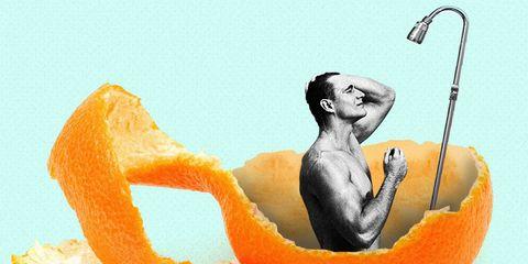 eating shower in orange