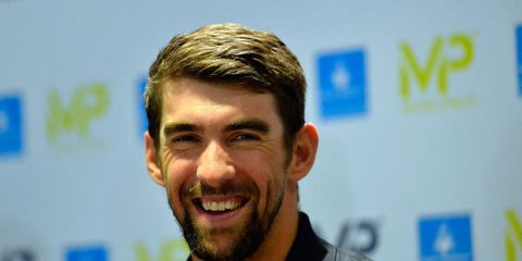 Michael Phelps addresses journalists during a press conference for the launch of his brand MP on February 16, 2017 in Paris, France.