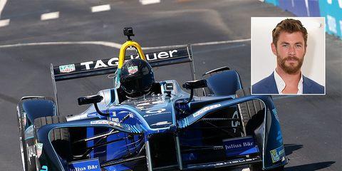 chris hemsworth spins racecar