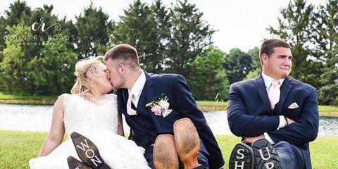 couple recreated wedding engagement photos with third wheel