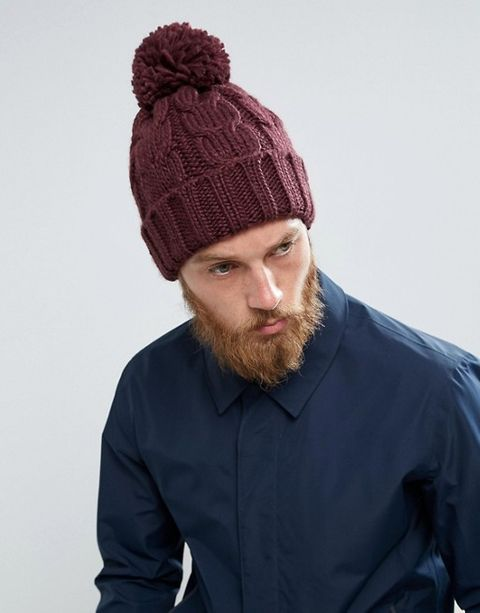 French Connection Cable Knit Bobble Hat