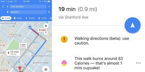 google maps calorie counter backlash