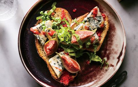 Blue Cheese, Figs, And Mustard Greens Toast