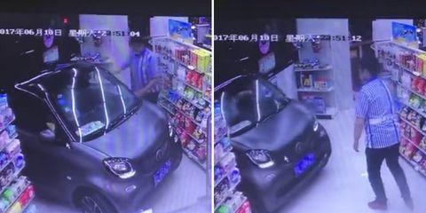 man drove car through store