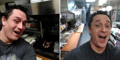 man cooks own meal at waffle house
