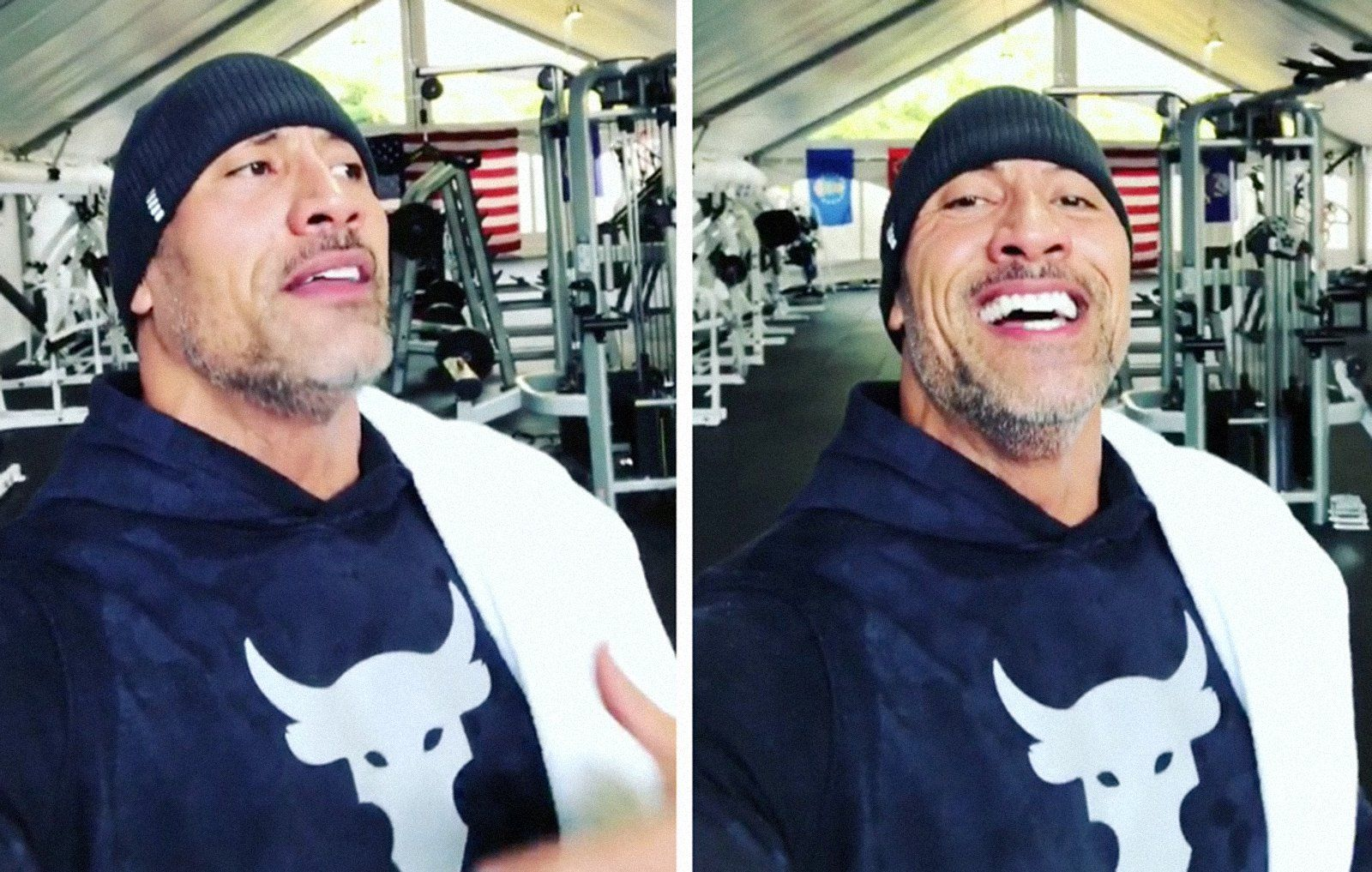 The rock s traveling gym has pounds of workout equipment