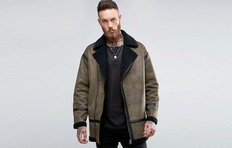 asos faux shearling biker jacket