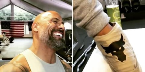 The Rock pees in water bottle at gym