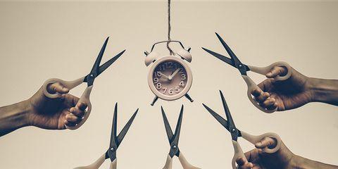 clock and scissors