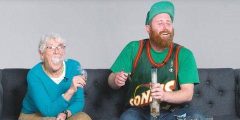 man smokes weed with grandma