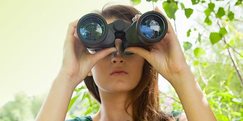 woman spying on partner