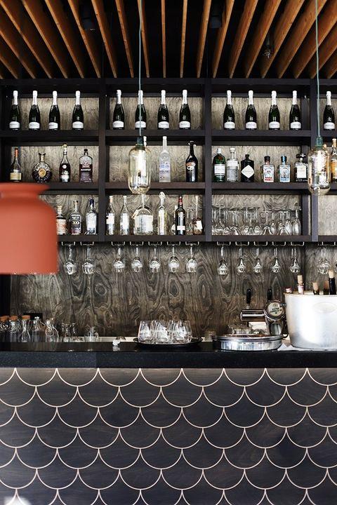 Ceiling, Tile, Architecture, Interior design, Floor, Room, Building, Drinkware, Shelf, Flooring,
