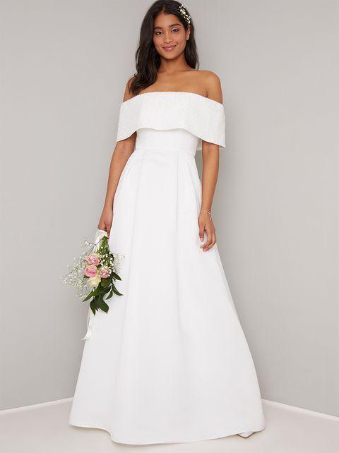 Affordable wedding dress - off-the-shoulder bridal gown