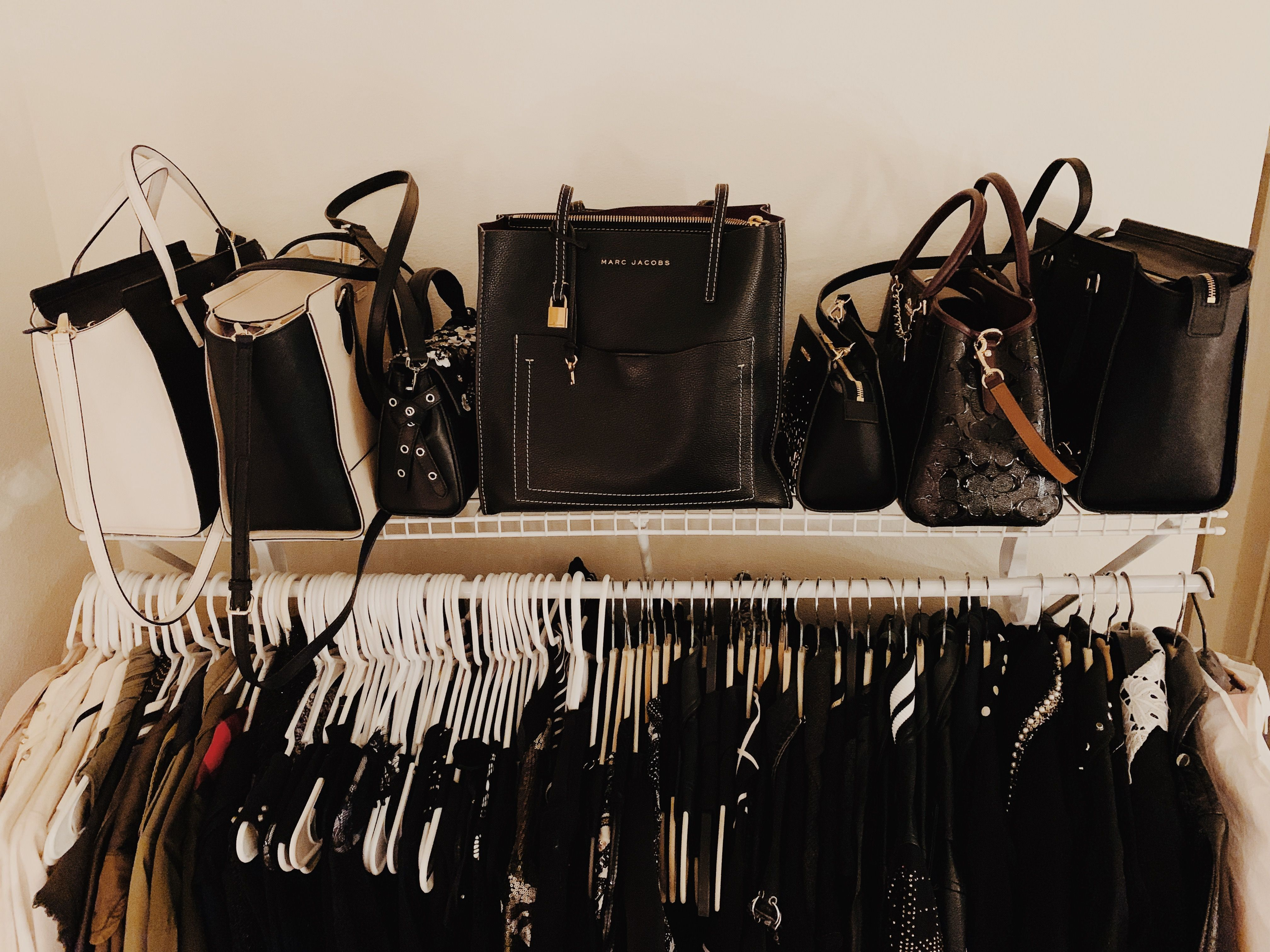 My trusty Marc Jacobs tote sits front and center in my closet.