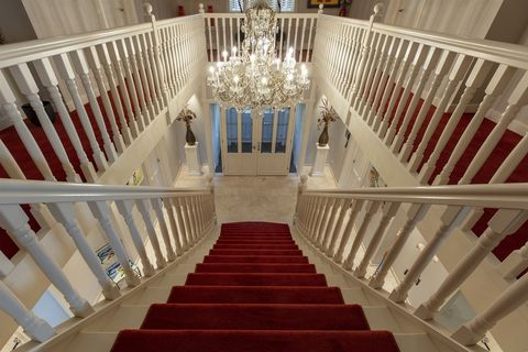 Stairs, Red, Handrail, Baluster, Aisle, Architecture, Line, Building, Ceiling, House,