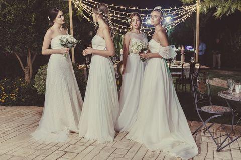 Gown, Dress, Wedding dress, Photograph, Bride, Clothing, Bridal clothing, Bridal party dress, Shoulder, Bridal accessory,