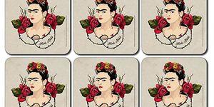 Posavasos inspirados en Frida Kahlo