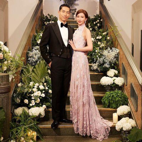 Gown, Wedding dress, Dress, Clothing, Bride, Bridal clothing, Formal wear, Suit, Shoulder, Marriage,