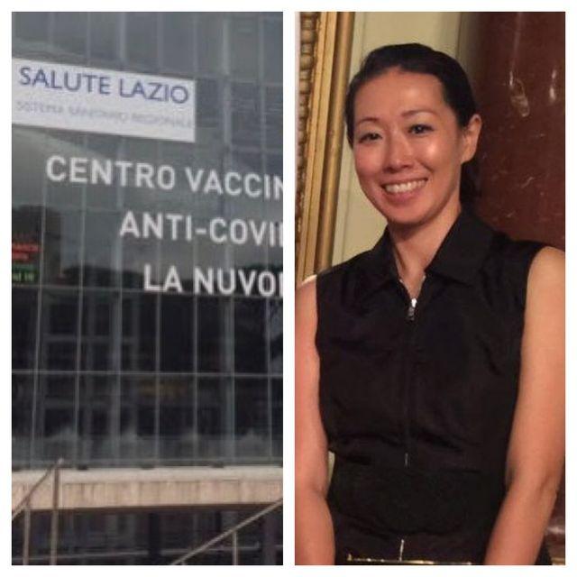 ローマの矢田さんとワクチン会場の外観