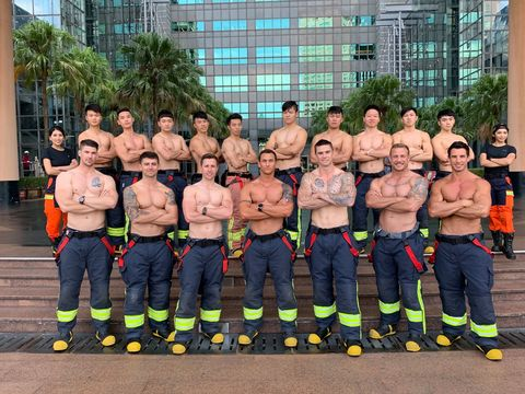 Team, Barechested, Muscle, Firefighter, Crew,