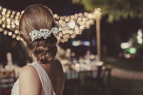 Hair, Headpiece, Hair accessory, Hairstyle, Dress, Headgear, Fashion accessory, Photography, Pearl, Plant,
