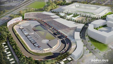 Sport venue, Stadium, Race track, Arena, Bird's-eye view, Urban design, Mixed-use, Transport hub, Soccer-specific stadium, Metropolitan area,