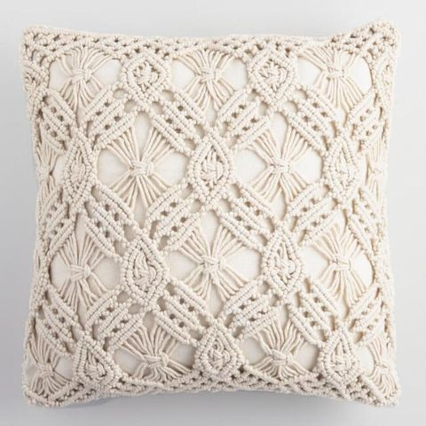 Throw pillow, Pillow, Cushion, Furniture, Textile, Beige, Pattern, Crochet, Lace, Linens,