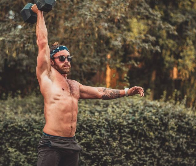 Barechested, Muscle, Arm, Physical fitness, Chest, Shoulder, Fun, Hand, Photography, Recreation,