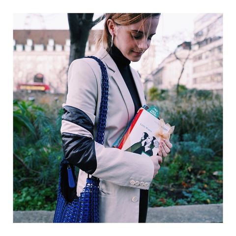Street fashion, Clothing, Shoulder, Fashion, Outerwear, Bag, Turquoise, Snapshot, Joint, Sweater,