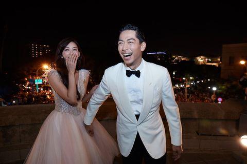 Photograph, Suit, Formal wear, Ceremony, Dress, Wedding, Event, Bride, Tuxedo, Gown,