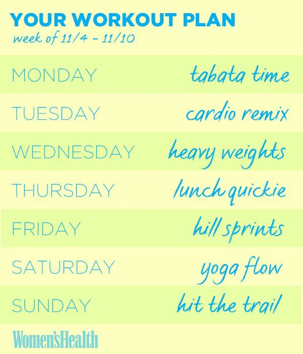 Your Weekly Workout Plan, Monday - Sunday