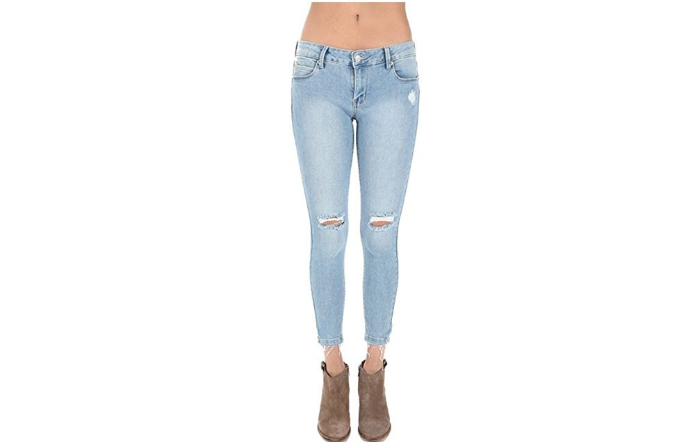 Just USA Women\u0027s Knee Cut Stretch Ankle Skinny Jeans