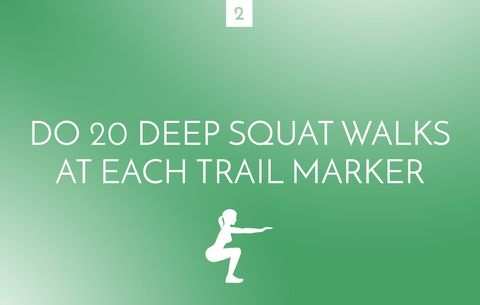 Deep squat walks at trail marker