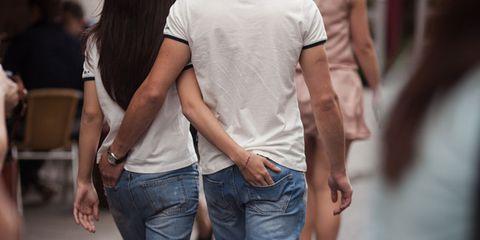 Clothing, Trousers, Denim, Jeans, Textile, T-shirt, Interaction, Fashion, Back, Pocket,