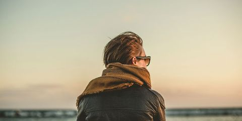 Sleeve, Jacket, Ocean, Back, Street fashion, Sea, Brown hair, Sound, Leather,