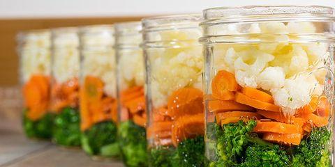 Food, Produce, Food storage containers, Mason jar, Ingredient, Leaf vegetable, Vegetable, Food storage, Vegan nutrition, Carrot,