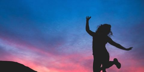 Sky, Human body, Happy, Jumping, Rejoicing, People in nature, Exercise, Highland, Hill, Silhouette,