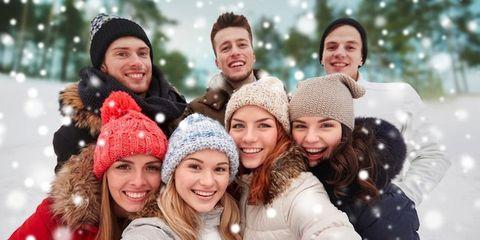 Face, Head, Winter, Human, Nose, Smile, Fun, People, Eye, Social group,