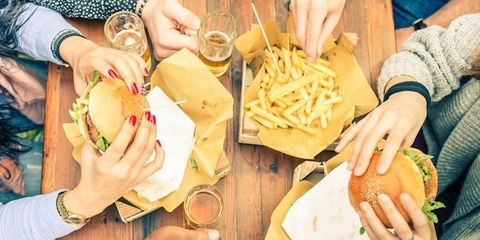 Food, Hand, Meal, Cuisine, Dish, French fries, Table, Tableware, Wrist, Recipe,