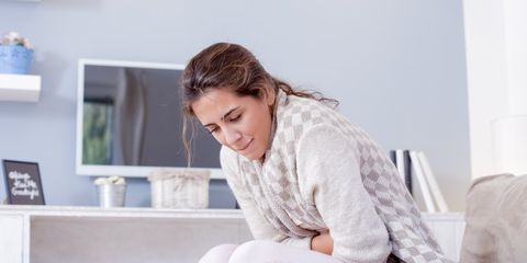 woman with period cramps
