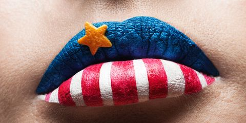 red white and blue lips for fourth of july