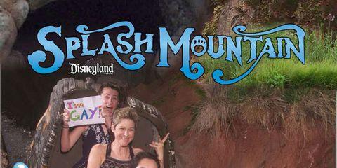 gay sign on splash mountain