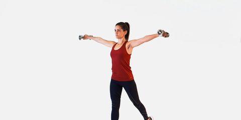 split squat to shoulder raise