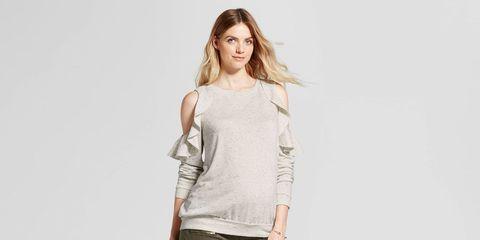 Cold Shoulder Ruffle Sweatshirt