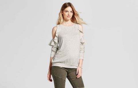 7991bdf8d49 Cold Shoulder Ruffle Sweatshirt. Target. Anyone who's shopped for maternity  ...