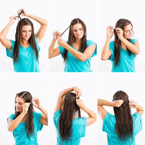 7 gorgeous ways to style wet hair the braided crown solutioingenieria Image collections