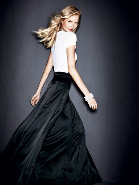 Beyond the black cocktail dress: long flowing skirt and t-shirt