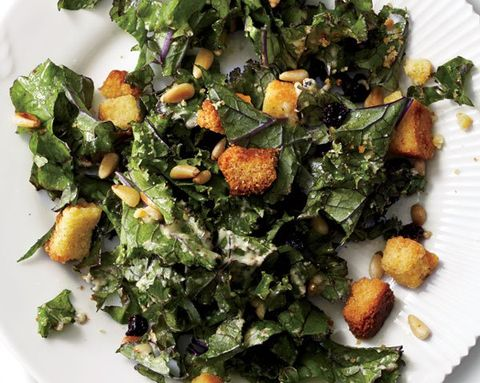 A Very Seasonal Side Dish: Kale Salad with Cornbread Croutons