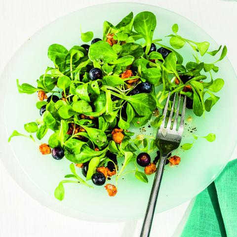 Blueberry, Mache, and Hazelnut Salad with Champagne Vinaigrette
