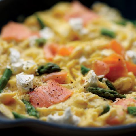 Scrambled Eggs with Smoked Salmon, Asparagus, and Goat Cheese